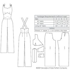 illustration for Vintage sewing pattern for 1930s Overalls with sweetheart neckline from Decades of Style