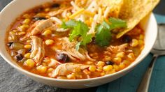 This enchilada soup packs a punch when Old El Paso® products are added . A Mexican dinner that's ready for cooking in 10 minutes. Point are in enchilada sauce. Otherwise every other ingredient is FREE! Slow Cooker Huhn, Crock Pot Slow Cooker, Slow Cooker Chicken, Slow Cooker Recipes, Crockpot Recipes, Soup Recipes, Mexican Food Recipes, Cooking Recipes, Mexican Dinners