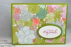 Liz Bailey Stampin' Up! Demonstrator - Succulent Garden DSP - Bunch of Blossoms - Stitched Shapes Framelits Dies - Festive TIEF