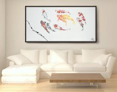 Koi Fish 72 Abstract Animal painting Fengt Shui by KobyFeldmos