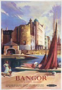 Bangor, County Down, Northern Ireland. Vintage Irish Travel Poster by Claude Buckle Bangor Northern Ireland, British Travel, Tourism Poster, Railway Posters, Seaside Resort, Tourist Information, Ireland Travel, Ireland Map, Famous Places