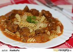 Dušené vepřové na paprice recept - TopRecepty.cz Czech Recipes, Ethnic Recipes, Food And Drink, Bulgur, Red Peppers, Essen