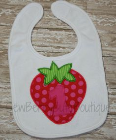 Strawberry First Birthday Bib 1st Birthday by SewBerryCuteBoutique