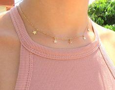 Gold Star Choker Necklace, Star Necklace, Tiny #jewelry #necklace @EtsyMktgTool http://etsy.me/2wGkQu9