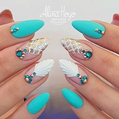 Nails Is mermaids time! Is mermaids time! Trendy Nails, Cute Nails, Jolie Nail Art, Mermaid Nail Art, Mermaid Mermaid, Beach Nails, Beach Wedding Nails, Beach Nail Art, Holiday Nails