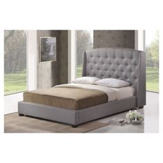 Ipswich Tufted Queen Bed in Grey