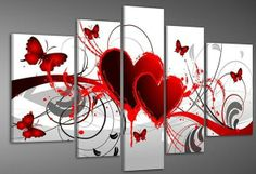 Hand painted Red hot love butterfly flowers landscape Wall home Decor Oil Painting on canvas 5pcs