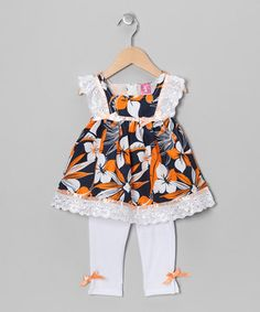 Look at this #zulilyfind! Lele for Kids Orange Hawaiian Tunic & Leggings - Infant by Lele for Kids #zulilyfinds