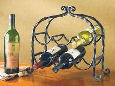 Scrolled 6 Bottle Iron Wine Rack - Kolorful Kitchen