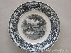 J. Vieillard et Cie Bordeaux 19th Century Humorous Plate Fishing Theme Antique French Transfer Printed Plate No 6 www.fatiguedfrenchfinds.com