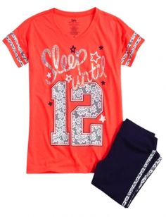 Shop Sleep Until 12 Legging Pajama Set and other trendy girls sets pajamas at Justice. Find the cutest girls pajamas to make a statement today. Cute Pjs, Cute Pajamas, Girls Pajamas, Girls Sleepwear, Cute Girl Outfits, Cool Outfits, Justice Pajamas, Shop Justice, Pajama Outfits