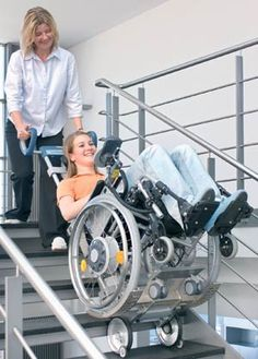Climb stairs in your own wheelchair with Scalamobil  Awesome!!!     http://www.frankmobility.com/scalamobil.php#