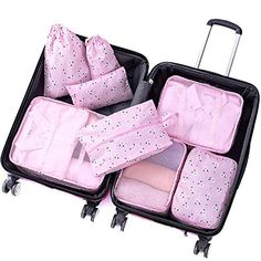 8 pcs Luggage Packing Organizers Packing Cubes Set for Travel Pink Begonia Care Containers Shoes-Jewelry Gear Bags Shoes-Jewelry Gear Backpacks Shoes-Jewelry Gear Bags Bags Shoes-Jewelry Gear Shoes-Jewelry Gear Packs - August 04 2019 at Travel Luggage, Luggage Packing, Travel Packing, Best Packing Cubes, Travel Cubes, Lightweight Luggage, Trends, Jewelry Armoire, Travel Accessories