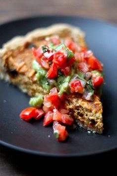 Soyrizo & Black Bean Quiche with Cornmeal Crust - Vegan