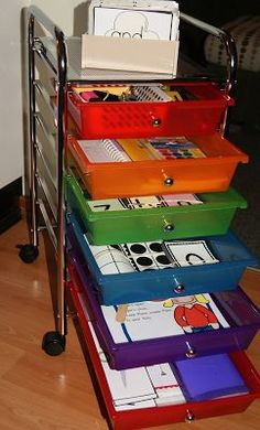 Core Drawers -- instructions for what to put in a drawer bin at the teaching area. Great ideas.