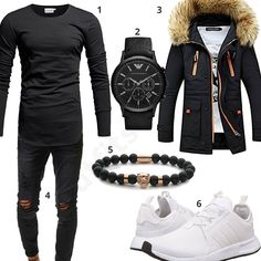 Schwarzer Streetstyle mit Mantel und weißen Adidas Schuhen (m0637) #adidas #armband #mantel #armani #outfit #style #fashion #menswear #herren #männer #shirt #mode #styling #sneaker #menstyle #mensfashion #menswear #inspiration #cloth #clothing #ootd #herrenoutfit #männeroutfit