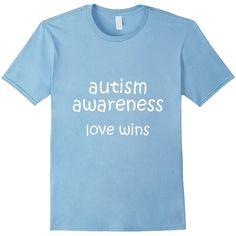 Autism Awareness Love Wins Autism T Shirts for Women and Men ($13) ❤ liked on Polyvore featuring men's fashion, men's clothing, men's shirts, men's t-shirts and mens t shirts