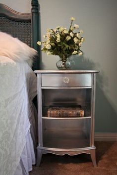 Turn boring furniture GLAM with chrome spray paint and glass knob!--Rustoleum chrome spray paint to finish. Furniture Projects, Furniture Makeover, Home Projects, Diy Furniture, Bedroom Furniture, Headboard Makeover, Metal Projects, Furniture Design, Chrome Spray Paint