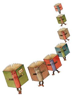 """""""Flying Books - illustration by Kestutis Kasparavicius Library Posters, Library Books, I Love Books, My Books, Reading Art, World Of Books, Library Displays, Book Images, Book Nooks"""