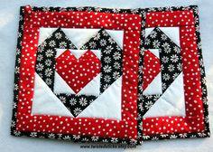 Heart Pot Holders Black and Red Pot Holders Set by twistedsticks,