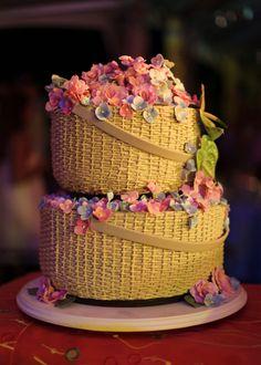 Tarta que parece una cesta de flores ¡¡¡nos encanta!!!
