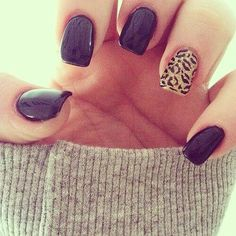 Black nails with leopard accent ring finger nail. I want matte finish though.
