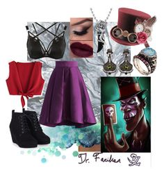 """""""Dr. Facilier"""" by foreverdisneybounding ❤ liked on Polyvore featuring Urban Outfitters, Disney, Voodoo Jewels, Ayala Bar, Curvy Kate, Bling Jewelry, Chicwish, disneybound, PrincessAndTheFrog and villains"""