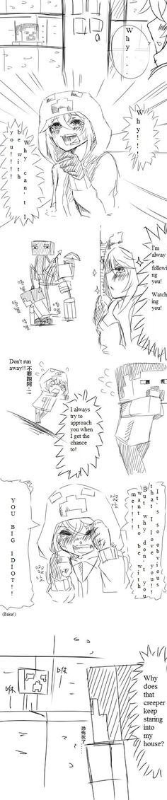 minecraft anime read from left to right... Poor creeper