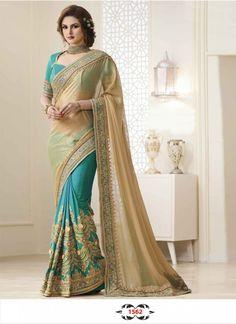 Buy Silk Georgette With Banarasi Silk Cream & Cyan Designer Saree