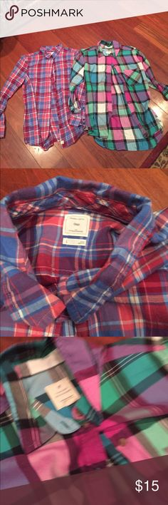 Plaid shirts. Excellent condition Both size l Tops Button Down Shirts