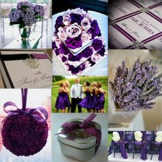 Purple ribbons for wedding favours