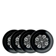 Set of 4 LSA International Ania plate 20cm, black & white