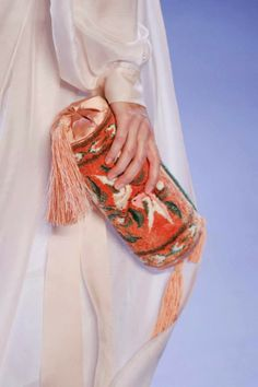 Cool Chic Style Fashion: Ulyana Sergeenko [satin bag with birds embroidered]