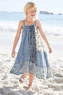 Denim-Patchwork-Kleid in Maxilänge (3–16 Jahre)