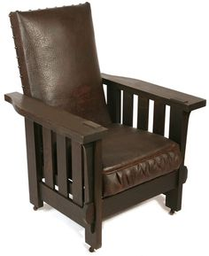 SHOP OF THE CRAFTERS Morris chair, three slats under arms, original cushion, original tacks, unsigned.