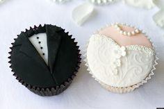 Wedding cupcakes by RuthBlack. Bride and groom cupcakes Wedding Cupcake Recipes, Homemade Wedding Favors, Wedding Cupcakes, Wedding Favours, Wedding Cake, Wedding Desserts, Wedding Bouquets, Wedding Beauty, Wedding Tips