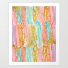 Gold metallic paint adorns the pastel splashes.<br/> <br/> <br/> <br/> Blue, green, turquoise, aqua...