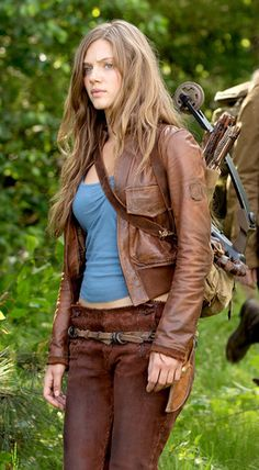 """Tracy Spiridakos - """"Charlie"""" from """"Revolution"""" TV show: I like the overall look and the blue with brown leather, but I'd want a different cut of t shirt."""