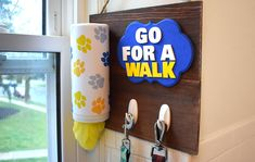 Get organized with this DIY wall-mount dog caddy. Store shopping bags for easy reuse. Painted Closet, Easy Thanksgiving Crafts, Lost Socks, Acrylic Craft Paint, Gift Card Balance, Burlap Ribbon, General Crafts, Diy Canvas Art, Button Art