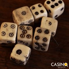 """The original six-sided dice were made from animal bones, which is why playing craps is commonly referred to as """"rolling the bones. Original Six, Animal Bones, Rolls, The Originals, Desserts, Food, Tailgate Desserts, Deserts, Buns"""