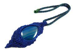Achat - Achat Anhänger Halsband Makramee Blau Thailand - ein Designerstück von Valadda bei DaWanda