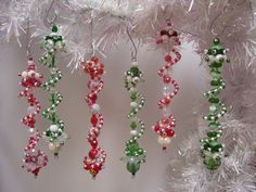 Peppermint and Candy Cane dangle ornaments