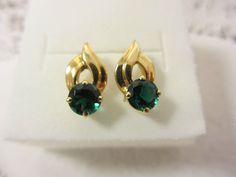 14K YELLOW GOLD & Blue/Green Gemstone Pierced EARRINGS   2.2 grams 14k GOLD