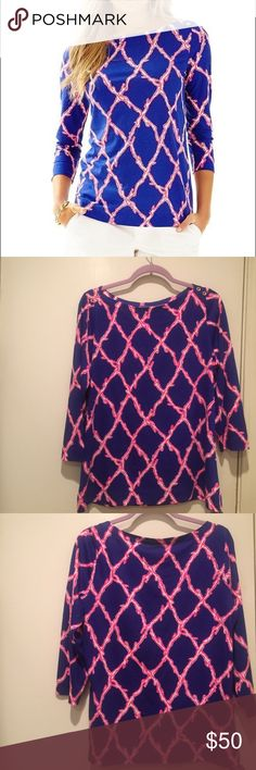 NWOT Lilly Pulitzer Alida Top NWOT Lilly Pulitzer Alida Top. Pattern: Santorini Blue Deep Dive. Size L. Never worn! Excellent condition. Smoke free home. 100% Pima Cotton. Lilly Pulitzer Tops