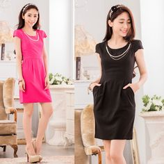 OL commuter elegant beads slim fit short-sleeved work party or everyday dresses #JK2 #StretchBodycon #WeartoWork