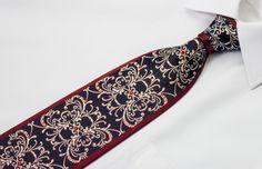 Daniel Hechter Silk Crystal Rhinestone Necktie Damask Design On Dark Navy Blue