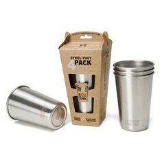 Stackable stainless-steel drinking for around the campfire or fireplace