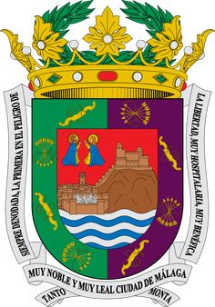 Coat of arms of Málaga Hans Christian, Granada, Marbella Spain, Malaga Spain, Family Crest, Floral Border, Andalusia, Coat Of Arms, Spain