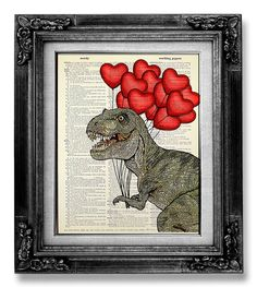 T Rex Dinosaur DICTIONARY ART PRINT Dictionary Paper, Home Office Decor, College Dorm Decor, Fun Dinosaur Wall Art Painting with Red Balloon...