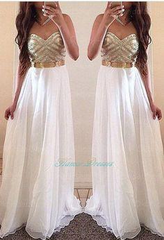 White Prom Dresses,Gold Evening Dress,Unique Prom Dresses, Sexy